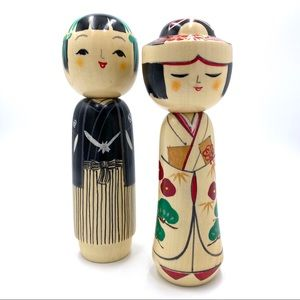 Asian bride and groom wooden figurines
